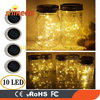 Warm White Watertight Solar Mason Jar Light Lid LED String Fairy Light for Regular Mouth Mason Jar