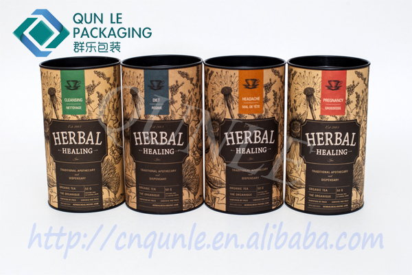Custom Paper Tube Tea Canister for Tea Herbal Small Tea tin with Tin Lid Factory directly