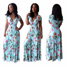 NS1297 african ladies summer fashion flower printed long dresses