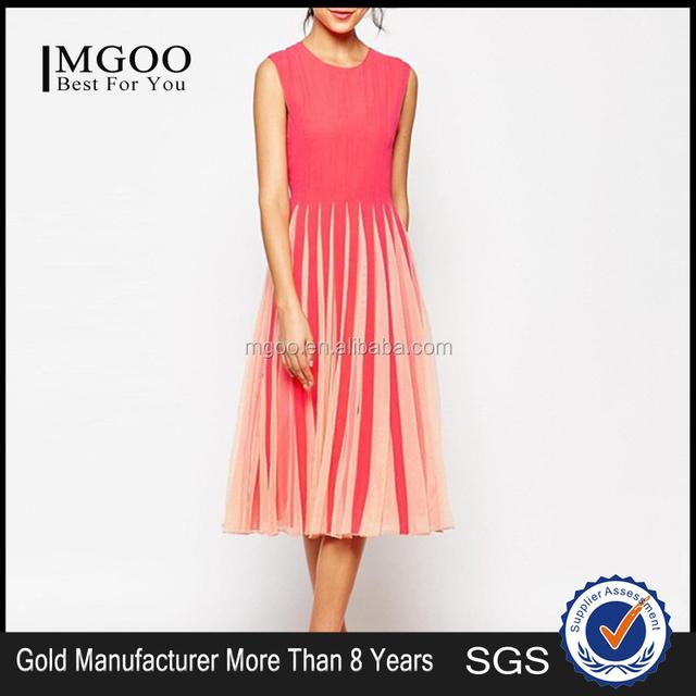 MGOO New Arrival Halloween Costumes OEM Orange Red Long Chiffon Dress Sweet Soft Yarn Casual Dresses 2015 838