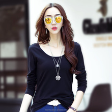women clothes custom wholesale fit cotton big O-Neck full hand t shirt