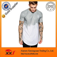 mens 2016 new design dip dye t shirt with embroidery logo and curved hem online shopping