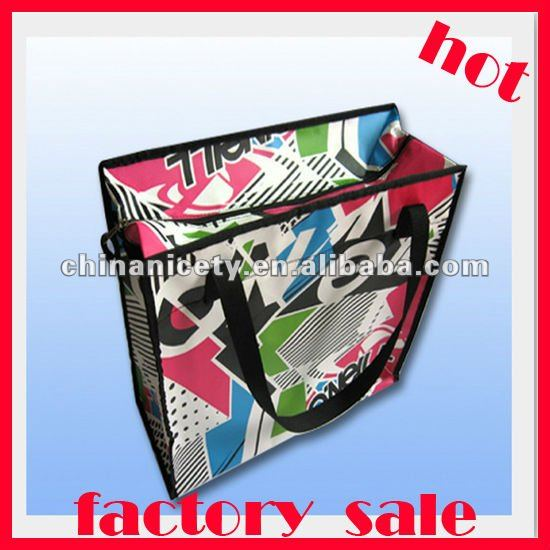 Zipper closure recycle tote bag with lamination