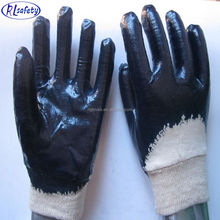 RUNLEI SAFETY Oil resistant nitrile full coated winter cotton gloves , industrial safety gloves machinery