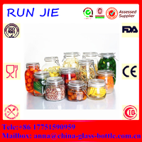 High quality glass storage jar/large glass jar with lid/clip top glass jar