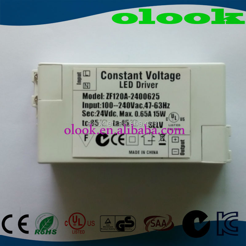Constant Voltage 24V 15W LED driver with CUL UL C-Tick SAA approved
