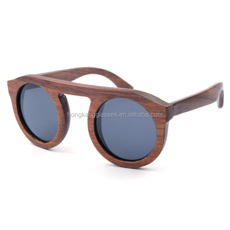 Low MOQ handmade wooden glasses fashion round frame bamboo eyeglasses