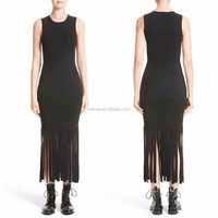 Women Fashion Sleeveless Casual Style Dresses Wholesale Custom Made LongTight Pencil Dresses With Tassel Details
