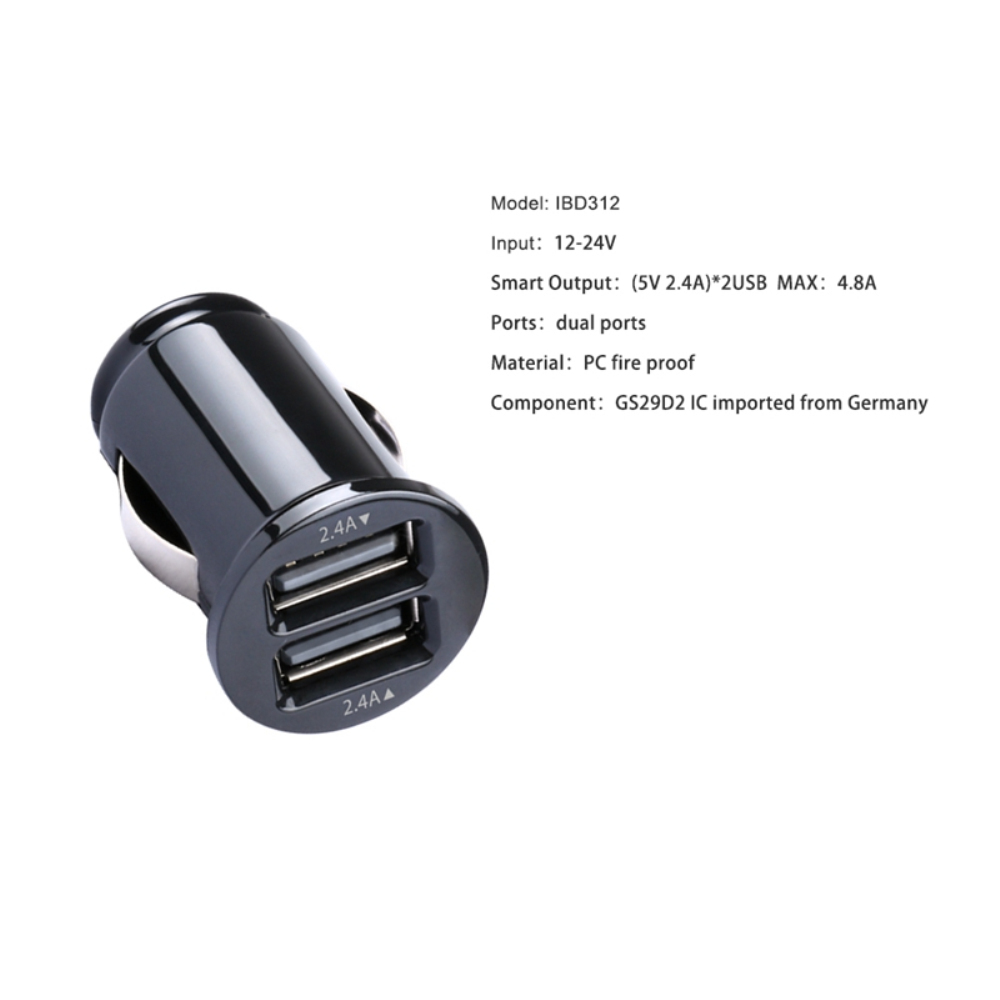 consumer electronics aukey style dual micro usb car charger 2.4a car vehicle charger in cars for travelling