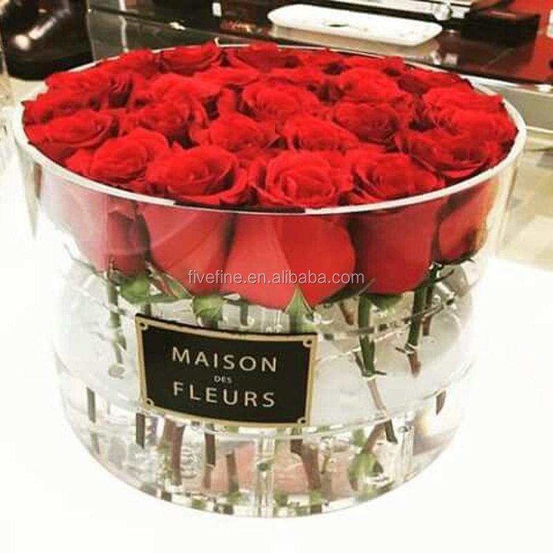 2016 luxury rose delivery round packaging gift box acrylic flower box