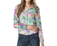 d95467t 2015 europe printed V collar blouse ladies/chiffon fashion ladies blouse collar design