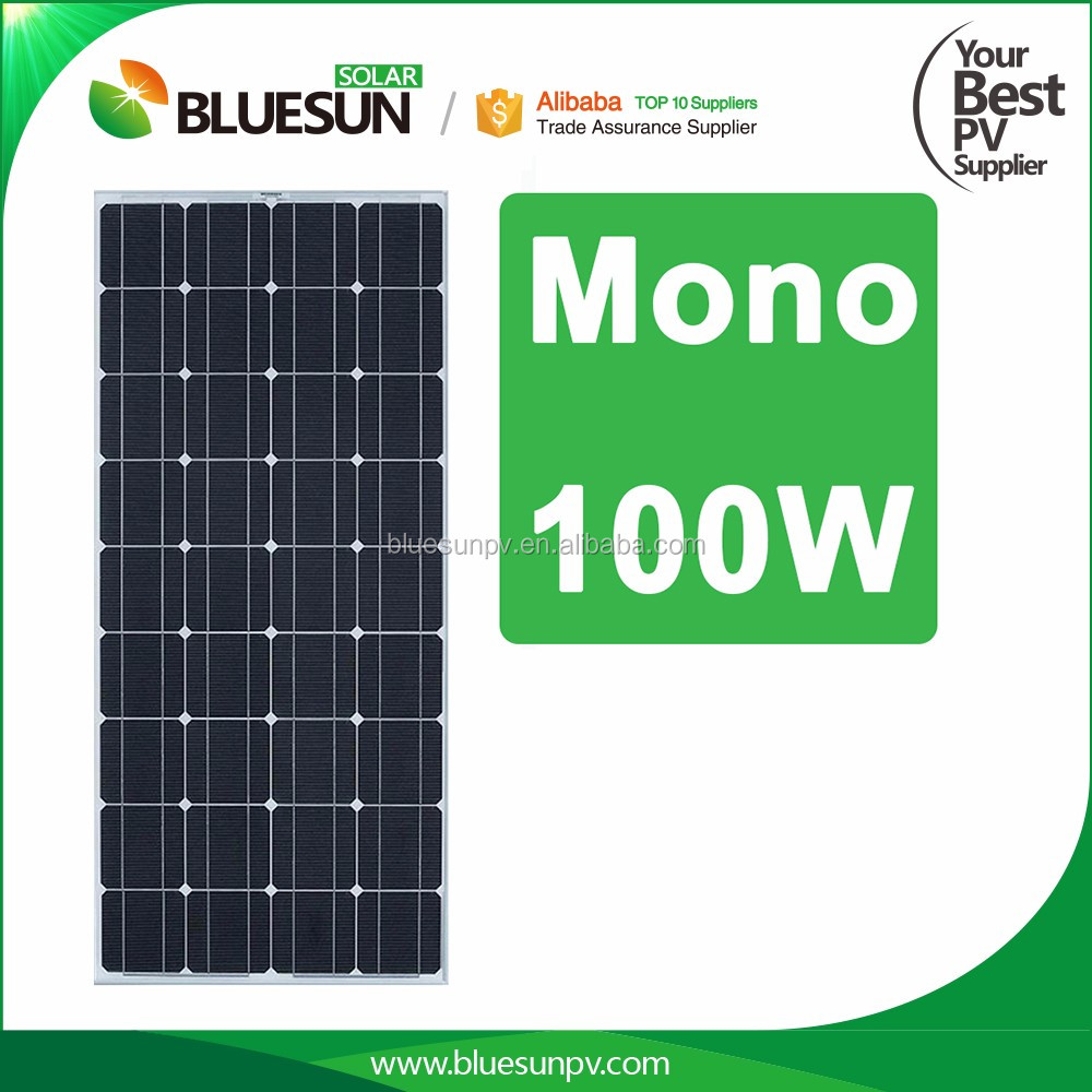 Bluesun qualified 100w mono iec tuv ce cec solar panel for off grid system