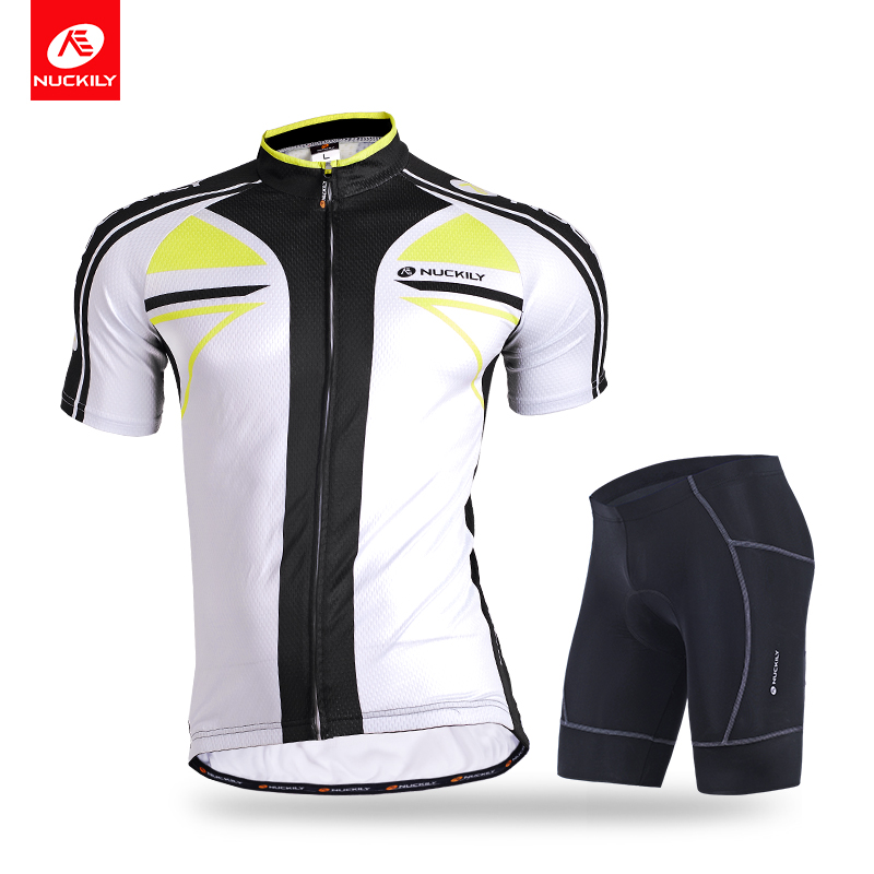 NUCKILY Men's summer silver fibre bike wear 2pcs set mixed polyester <strong>cycling</strong> top and lycra short suit