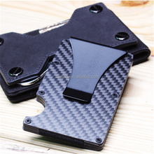 Matt Carbon Fiber RFID Mini Slim Wallet Money Clip Metal Aluminum Business Credit Card ID Holder With Anti-chief Case Protector