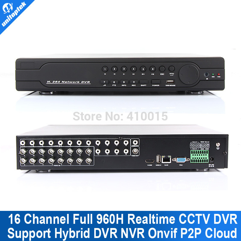 DVR H264 CMS Free Software With 16ch Full 960H/D1 dvr Realtime Recording Playback 16CH Hybrid DVR NVR CCTV Onvif P2P Cloud