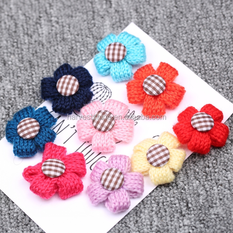 Handmade decorative knitting wool fabric flowers for clothing