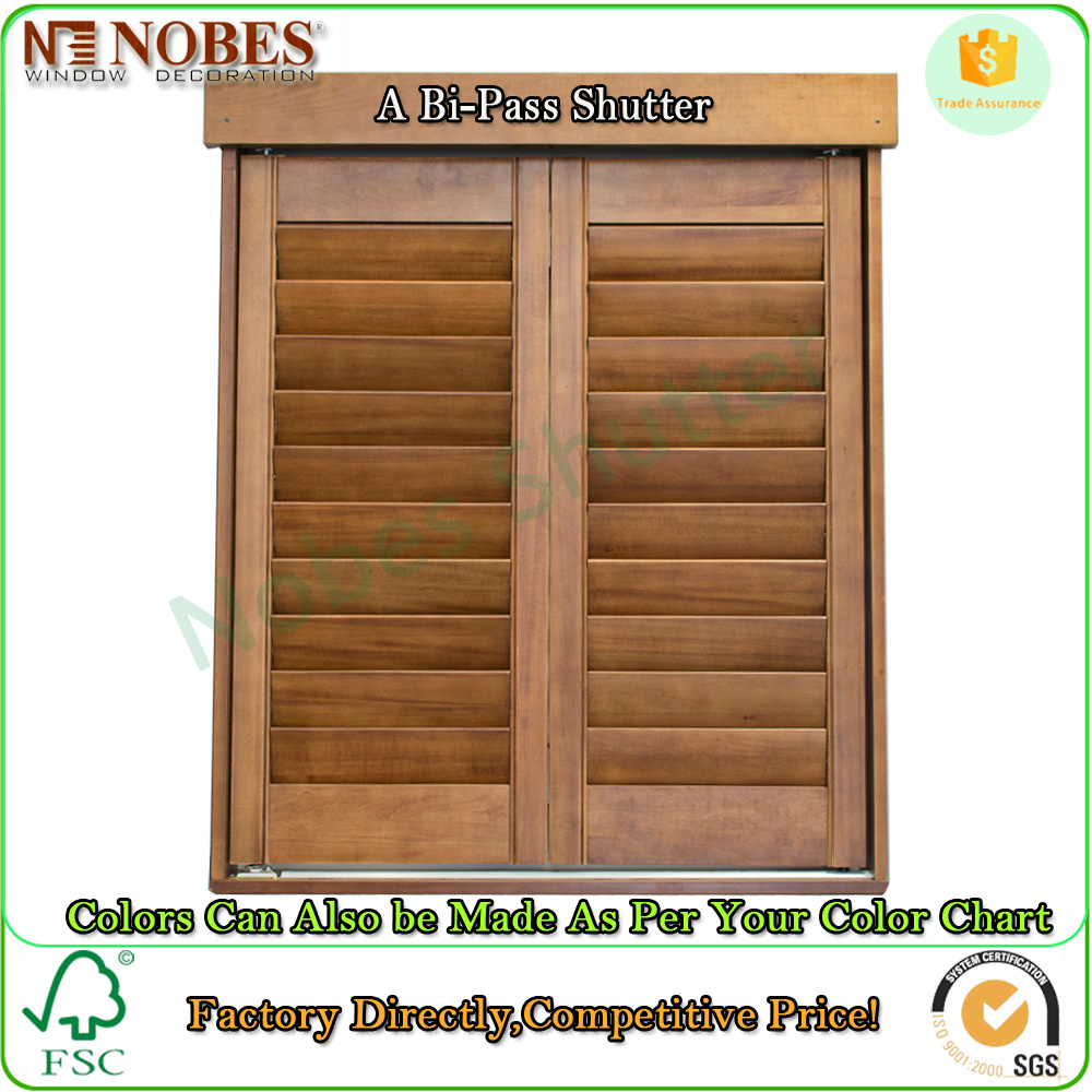 Color Stained Interior Window Wooden Shutters Factory Directly