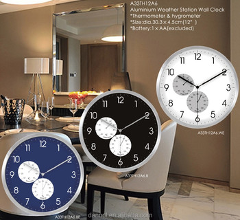 new 2017 12inch thermo hygro clock wall clocks with humidity temperature clock wall home decor