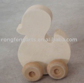 Moving wooden toy duck with wheel