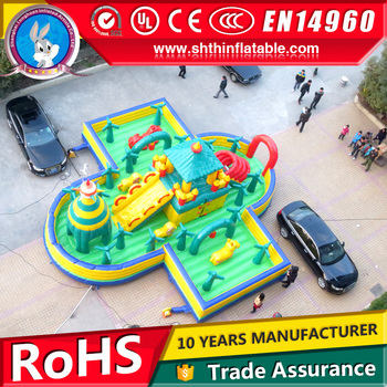 PVC tarpaulin 0.45-0.55mm inflatable amusement park, playground on sale