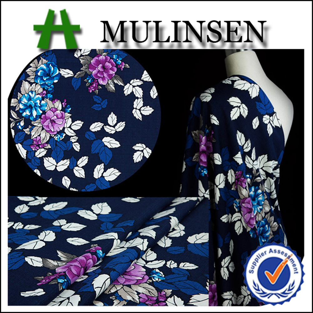 2016 Mulinsen Textile New Designs Printed Woven 100% Polyester Wool Peach Fabric for Summer Dresses