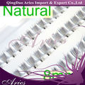 soft and silk natural 8mm length cluster lashes extension with knot