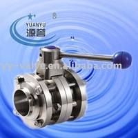sanitary stainless steel 3 pieces flange butterfly Valve