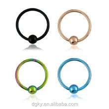 "Anodized Titanium Captive Ring 16G 5/16"" Eyebrow Lip Nose Piercing Jewelry"