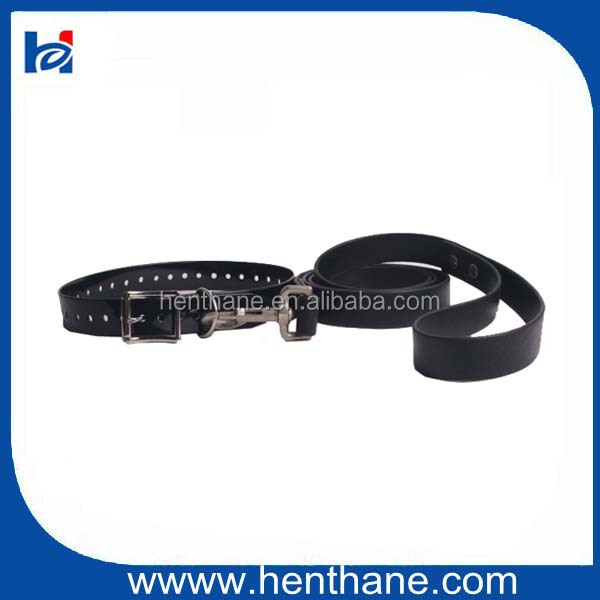 Black PVC Leather dog Collar and Leash