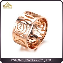 KSTONE New Fashion Unique Rings Design with Rose Gold Plated Women's Wide Band Ring