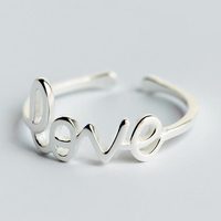 New Hot 925 Sterling Silver Heart Love Open Rings for Women Fashion Jewelry anillos plata mujer Trendy Engagement Ring