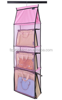 Hanging Mesh Handbag Storage Closet Organizer with 3 Shelf