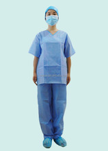 Disposable SBPP SMS Nonwoven Chinese Collar Scrub Suit