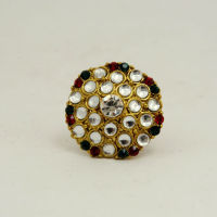 2015 designer Kundan Work with Multi Color Rhinestone Ring