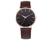 promotion gifts 3atm leather wrist classic watch man IP rose gold quartz watch