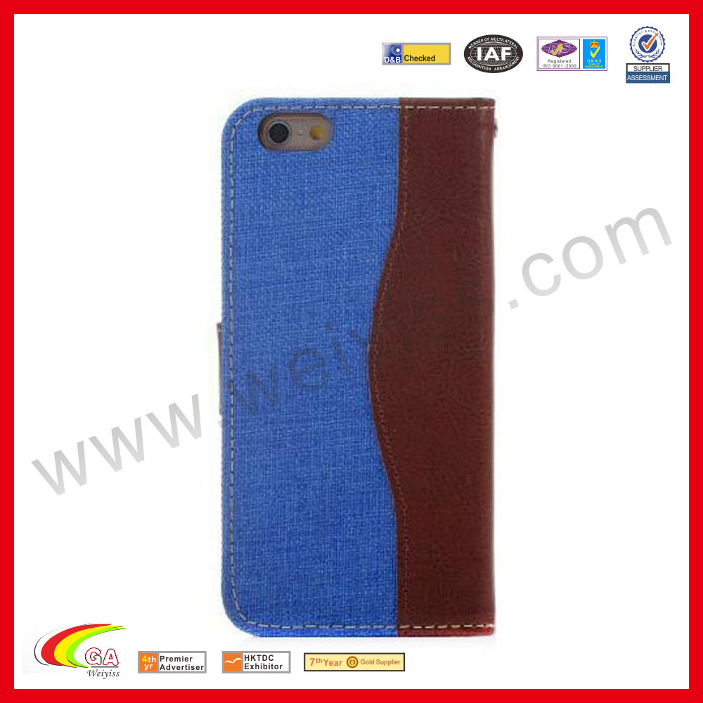 Light denim case for iphone6 5.5inch leather case for iphone 6 PLUS