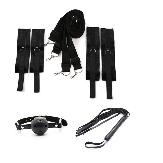 Bed Restraints Bondage Fantasy Set - Soft Fur Hand & Ankle Cuffs - Mouth Ball Whip Included