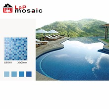 2018 hot sale cheap blue glass mosaic tile for swimming pool