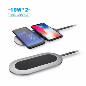 2018 new design 20W wireless charging pad for two device,wireless charger for iphone x and samsung