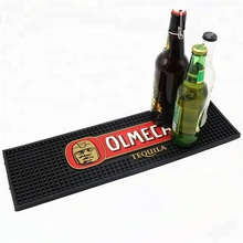 Custom nice quality embossed logo soft pvc nitrile rubber beer bar drip runner mat