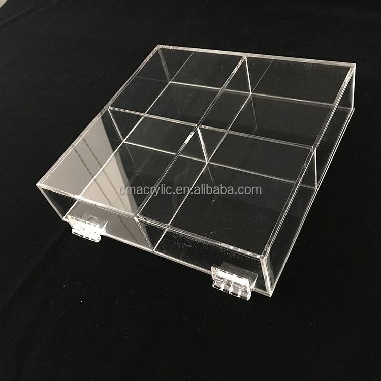 4 Case Transprent Clear Acrylic Tea Bag Display Box Plexiglass Lucite Plastic Storage Box with Lid