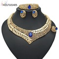 2018 Newest Designed Blue Rhinestone Costume Jewelry Gold Big Costume Jewelry Sets for Women
