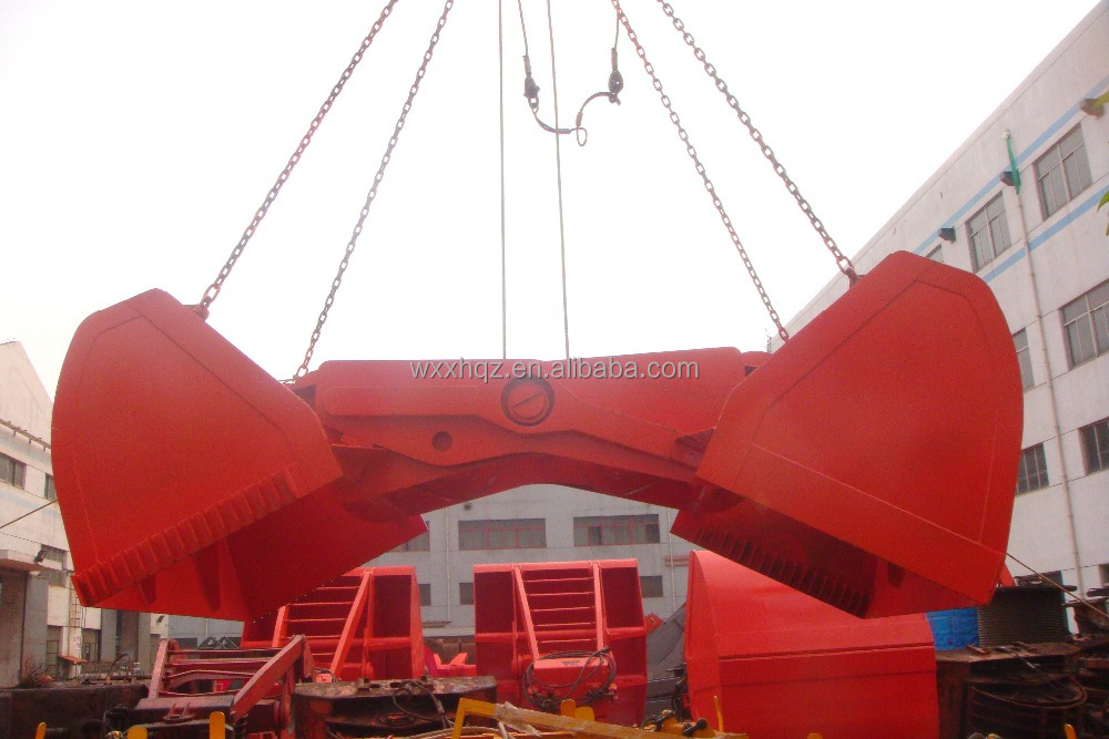 Dredging grab for hydraulic or mechanical control as clamshell or orange peel