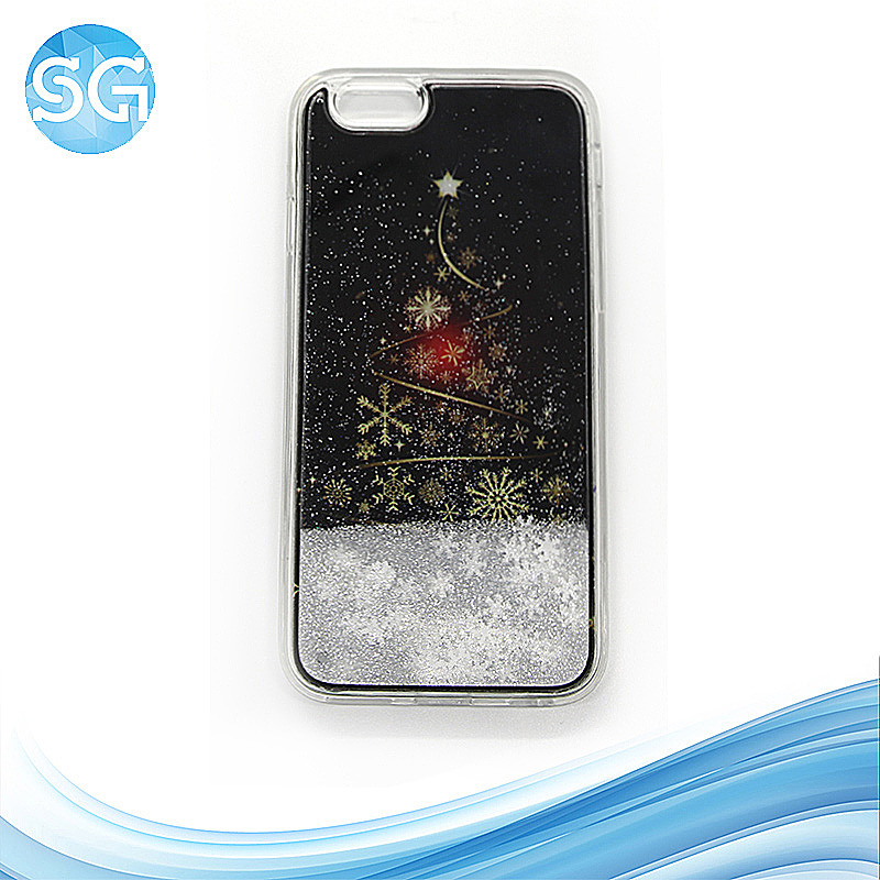 hot popular cute flowing floating phone cover phone with case glitter TPU+PC for iphone 6 6s
