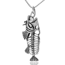 Professional Stainless Steel Manufacturer Classic Style Big Heavy Mens Antique Fish Bone Shape Pendant Wholesale