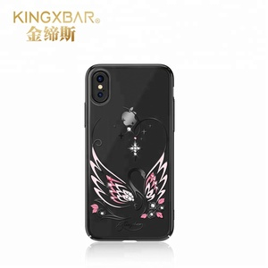 Custom Swarovski Crystals Luxury Bling Glitter Plastic PC Cell Phone Mobile Cover Hard Phone Case for iPhone X 8 7 Plus 6s