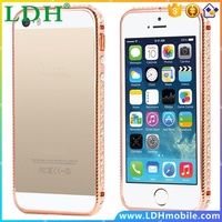 Luxury Rose Gold Rhinestone Aluminum Frame Case For Apple iPhone 5 5s 5g Hard Hybrid Bling Diamond Cellphone Cover