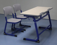 Adjustable two seaters metal school desk and chair for students