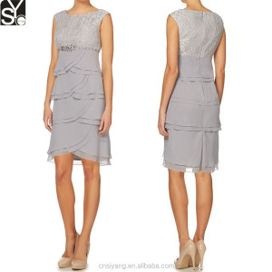 Lace Top Layer Dress,Empire Waist Beaded Grey Ladies Official dresses