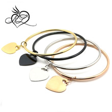 Personalized stainless steel logo engraving Custom heart charm bangle